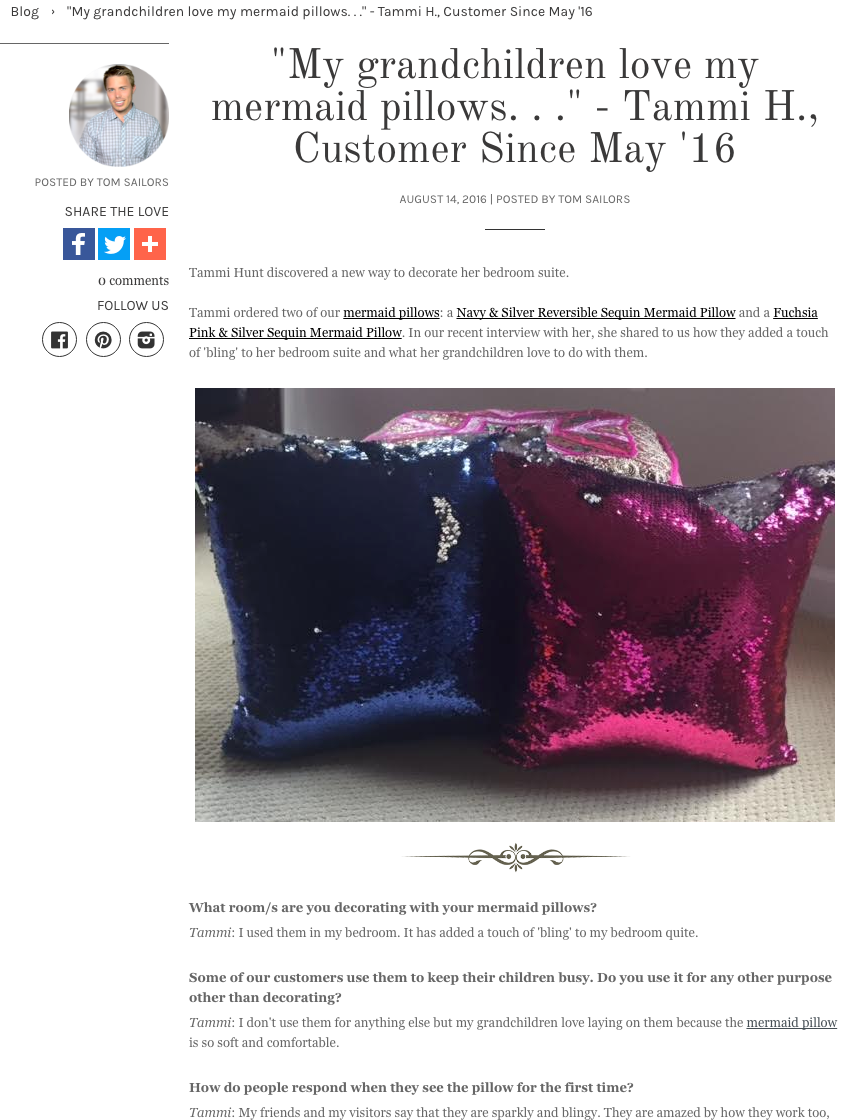 mermaid pillow interview with a customer