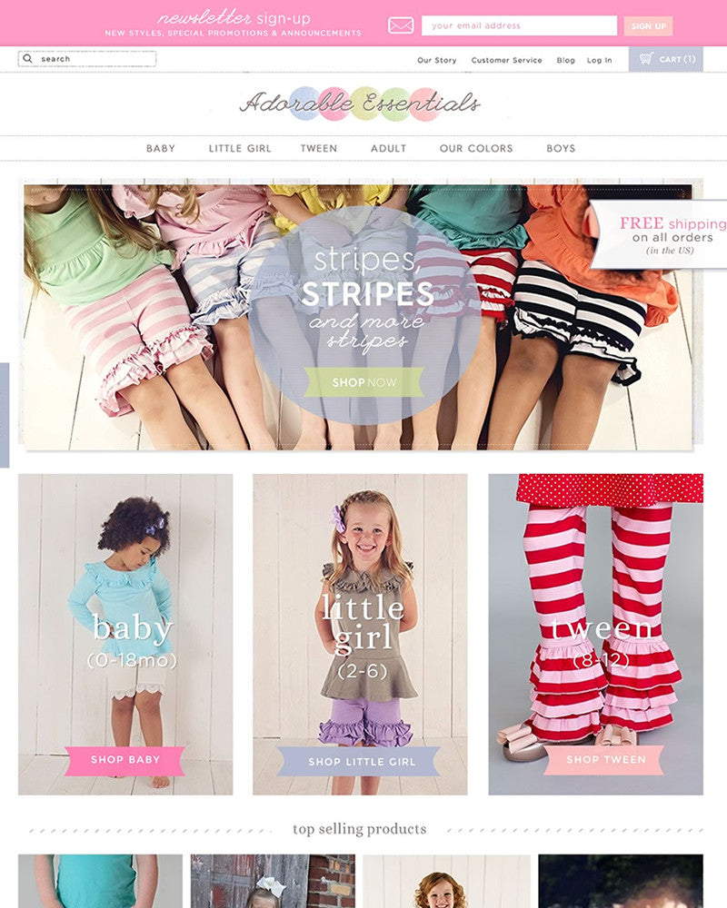 Adorable Essentials | TracySailors.com Portfolio | Shopify Developer