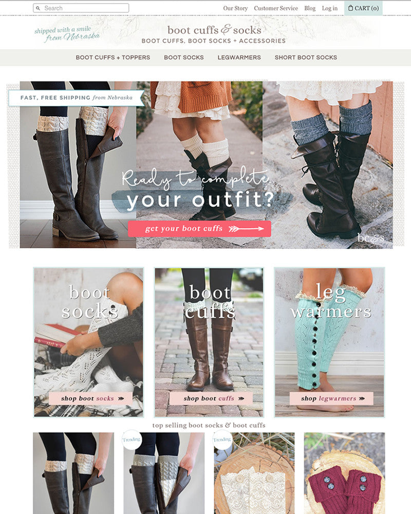 BootCuffSocks.com (redesign) | TracySailors.com Portfolio | Shopify Developer