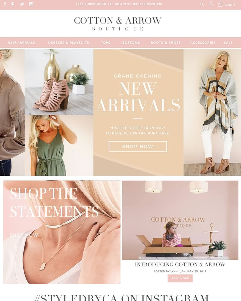 Cotton & Arrow Boutique | TracySailors.com Portfolio | Shopify Developer