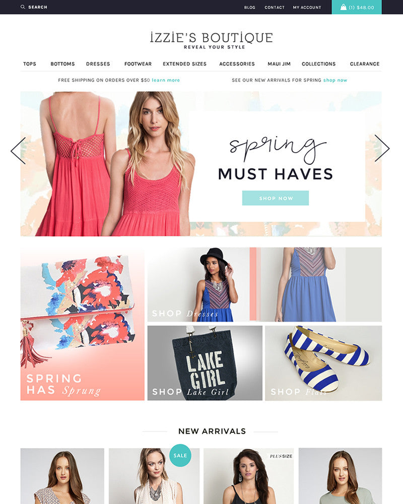 Izzie's Boutique | TracySailors.com Portfolio | Shopify Developer
