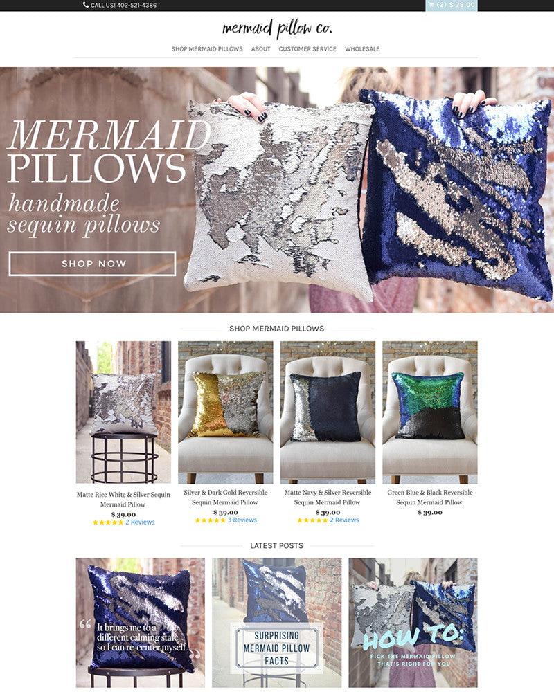 Mermaid Pillow Co | TracySailors.com Portfolio | Shopify Developer