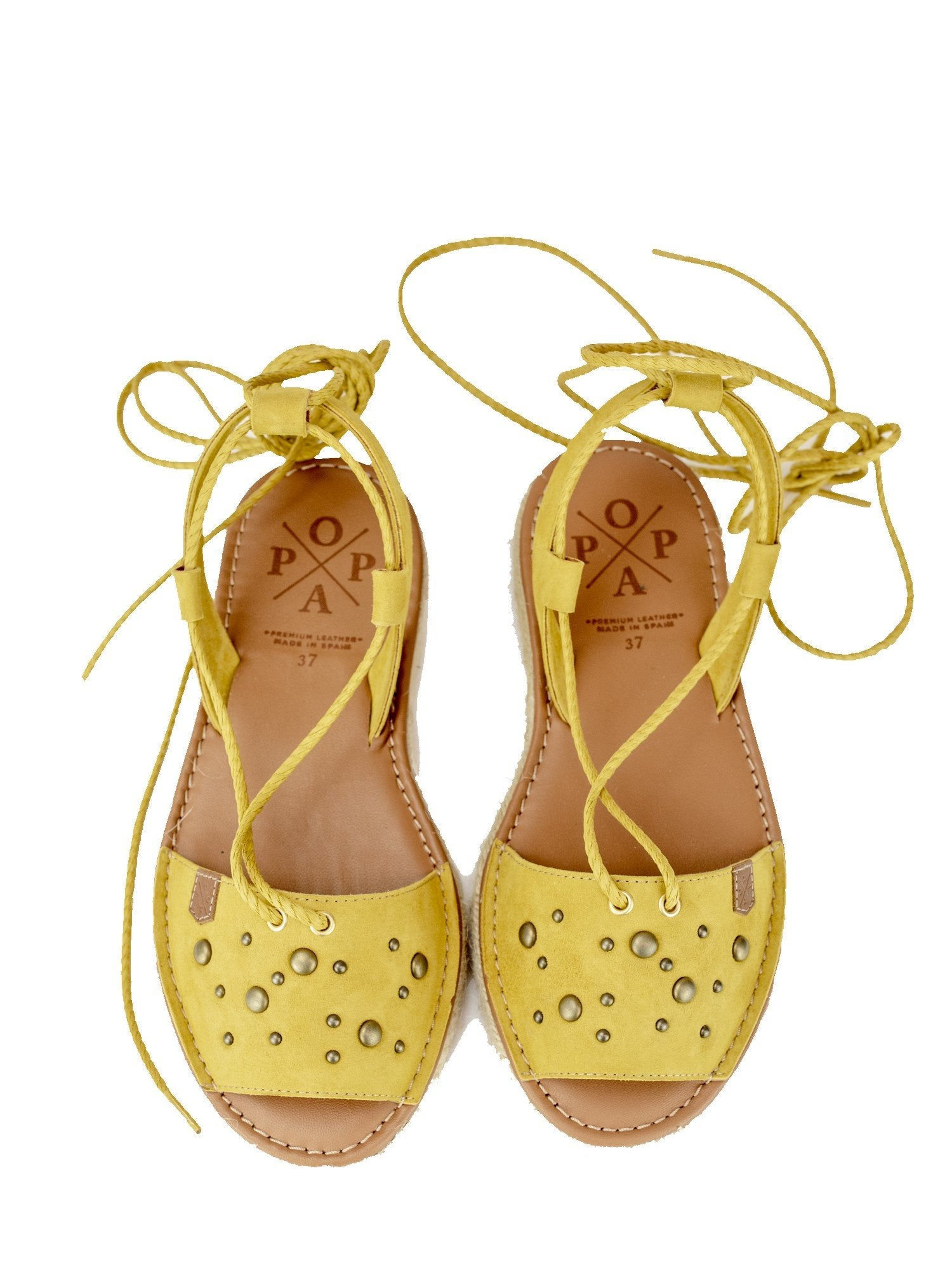 Nizuc Mustard Suede Espadrille Lace-up Sandal with Studs