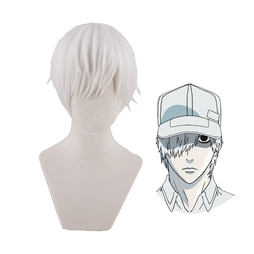 Anime Cells at Work White Blood Cell Short White Cosplay Wigs - Cosplay Clans