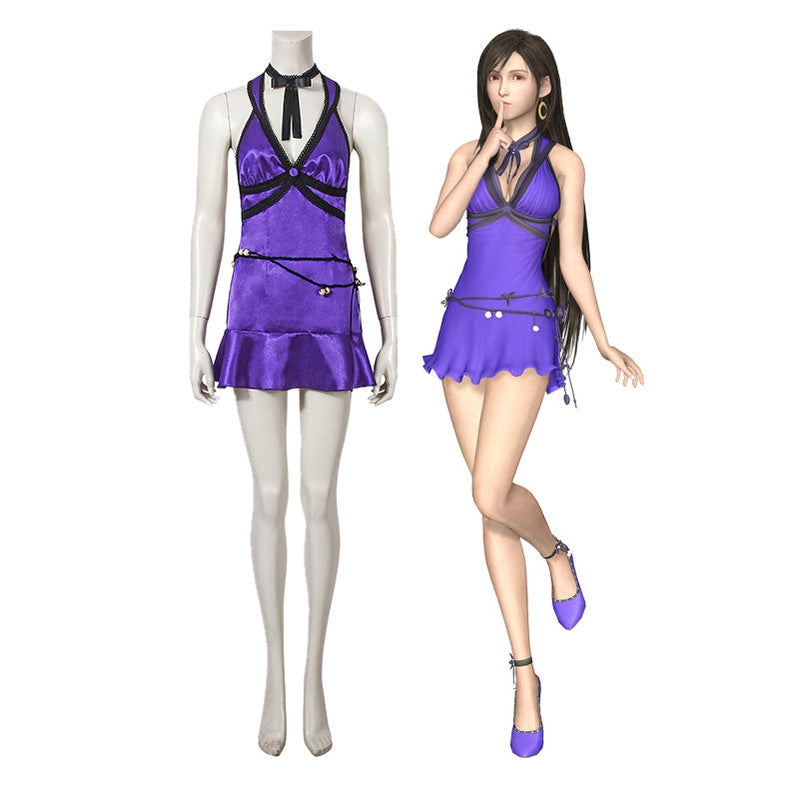 Game Final Fantasy VII Remake FF7 Tifa Lockhart Dress Outfits Cosplay Costume - Cosplay Clans
