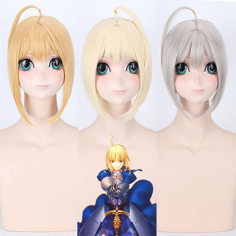 Anime FGO Fate Stay Night Arturia Pendragon Saber Blonde Grey Styled Updo 3 Colors Cosplay Wigs - Cosplay Clans
