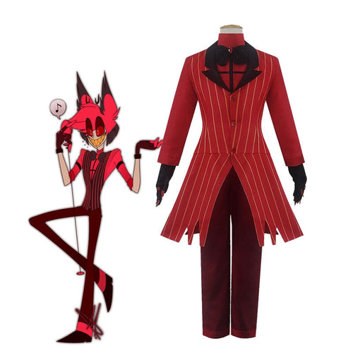 Hazbin Hotel Alastor Red Uniform Outfit Full Set Halloween Cosplay Costumes - Cosplay Clans