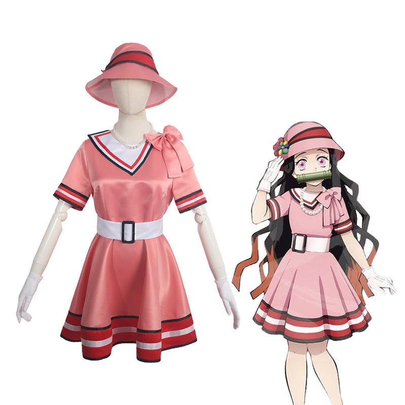 Anime Demon Slayer Kimetsu no Yaiba Nezuko Kamado Dress Cosplay Costume - Cosplay Clans