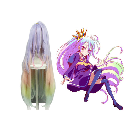 Anime No Game No Life Shiro Long Mixed Blue Cosplay Wigs - Cosplay Clans
