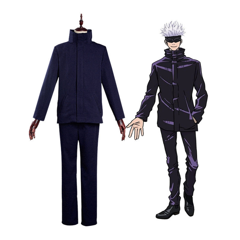 Anime Jujutsu Kaisen Satoru Gojo Outfits Cosplay Costume with Blindfold - Cosplay Clans