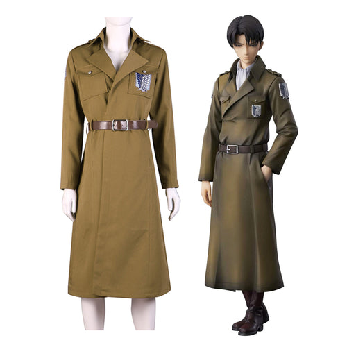 Anime Attack on Titan Levi Ackerman Survey Corps Coat Cosplay Costume