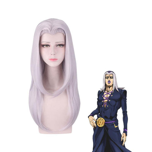 Anime JoJo's Bizarre Adventure Golden Wind Leone Abbacchio Long Gray Cosplay Wigs - Cosplay Clans