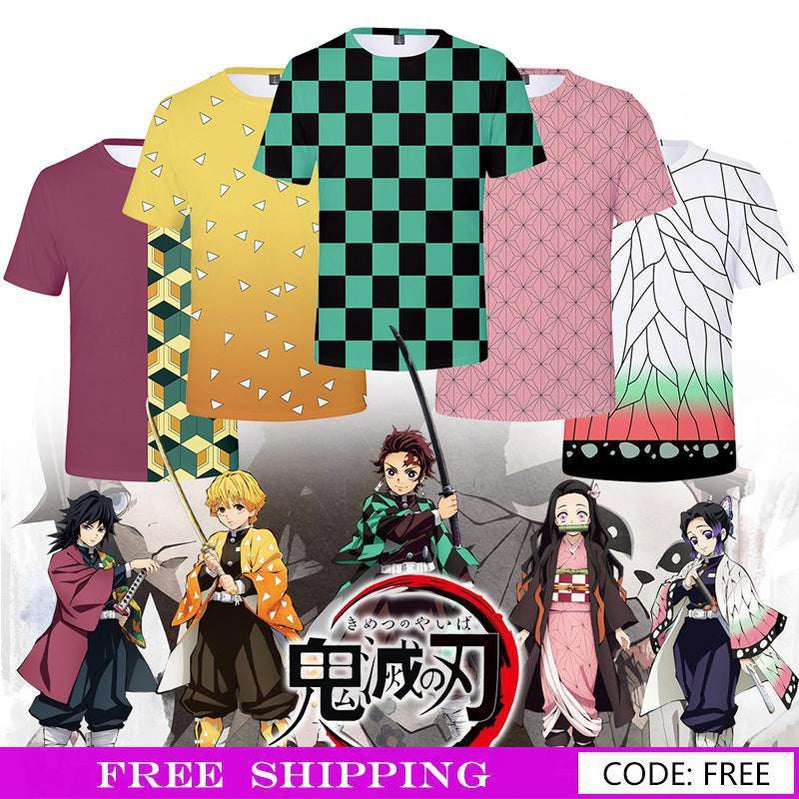Anime Demon Slayer Kimetsu no Yaiba 5 Color T-Shirt Male Uniform Cosplay Costumes - Cosplay Clans