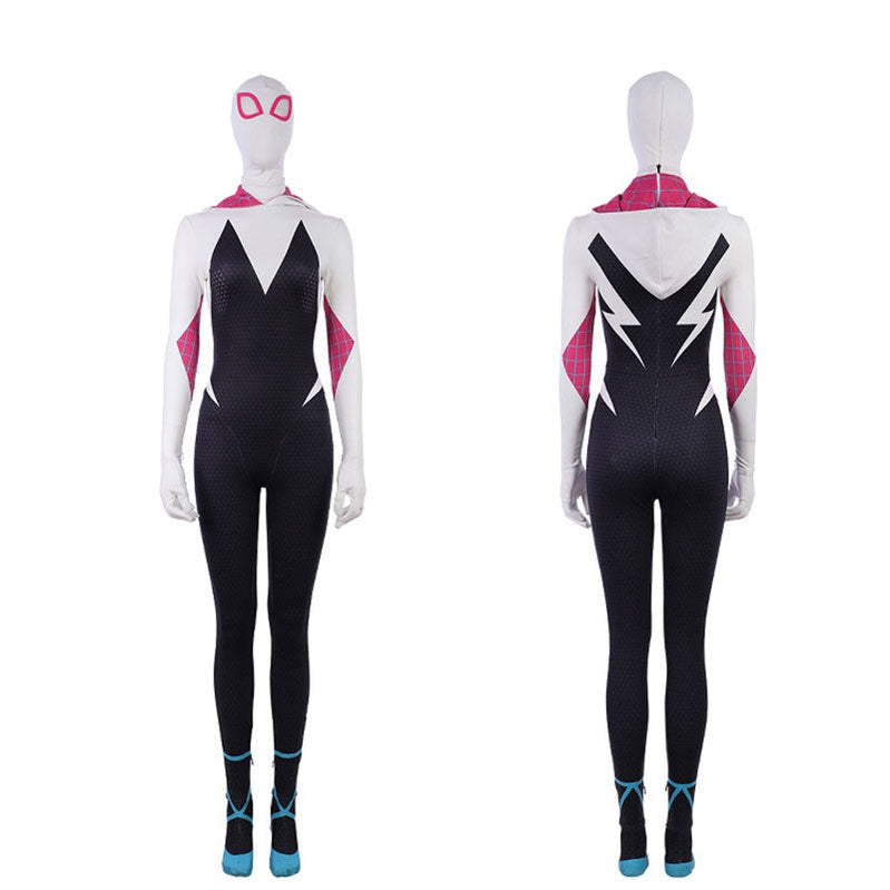 Movie Spider-Man: Into the Spider-Verse Gwen Stacy Spiderman Cosplay Costume Jumpsuit with Free Headgear - Cosplay Clans