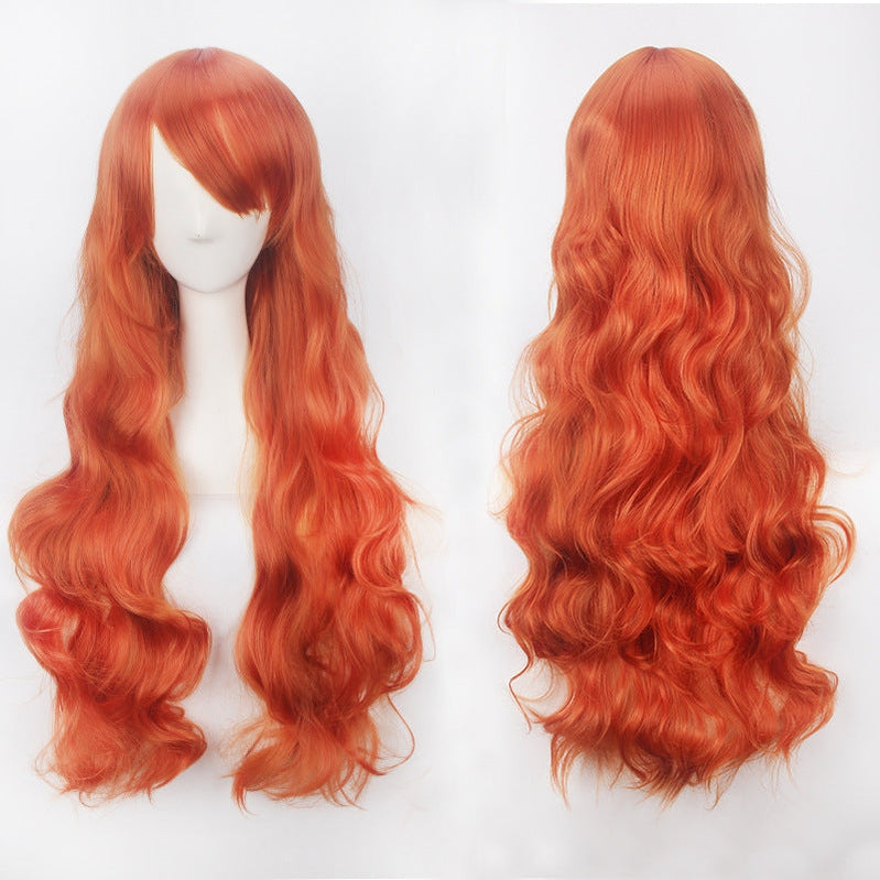 Women Wavy Sweet 80cm Long Orange Lolita Fashion Wigs with Bangs - Cosplay Clans
