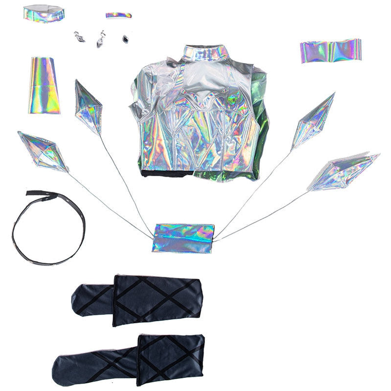 Game LOL KDA All Out Seraphine Superstar Fullset Cosplay Costumes With Wing Props - Cosplay Clans