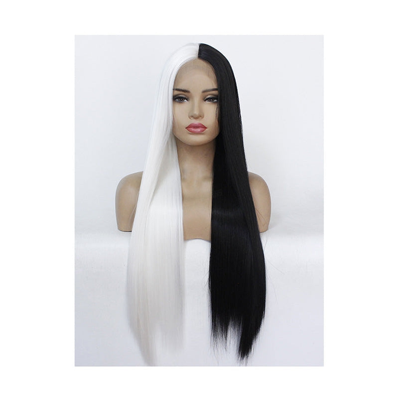 Multiple Size Women Half White and Half Black Long Straight Lace Front Wigs - Cosplay Clans