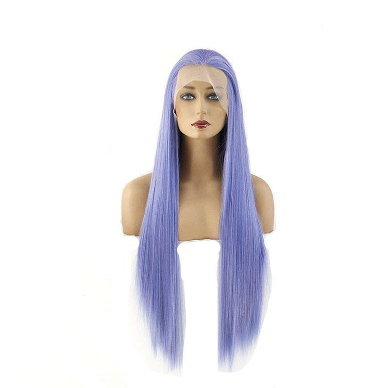 60cm Women Lace Front Wigs Long Straight Dark Blue Cosplay Wigs - Cosplay Clans