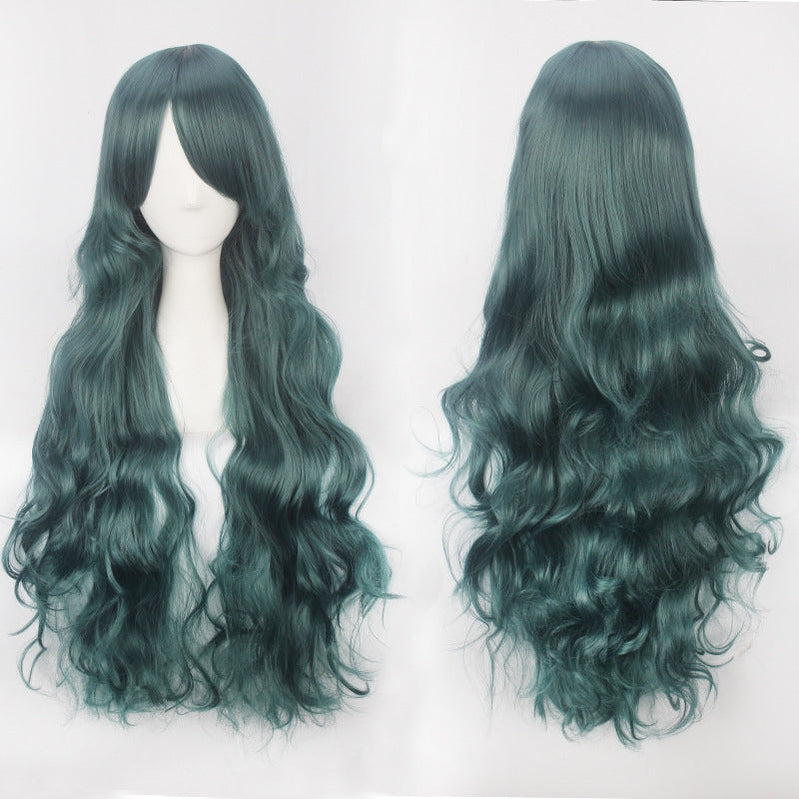 Women Wavy Sweet 80cm Long Green Lolita Fashion Wigs with Bangs - Cosplay Clans