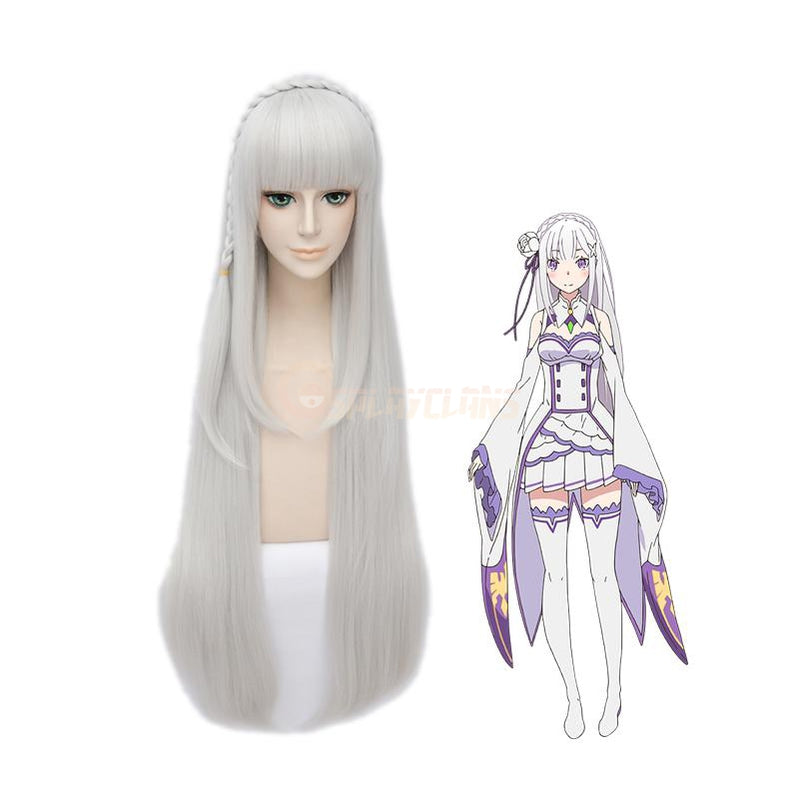 Anime Re:Zero Starting Life in Another World Emilia Long Straight Silver Cosplay Wigs - Cosplay Clans