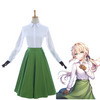 Anime Violet Evergarden Auto Memory Doll Outfits White Blouse Green Dress Gloves Cosplay Costume - Cosplay Clans