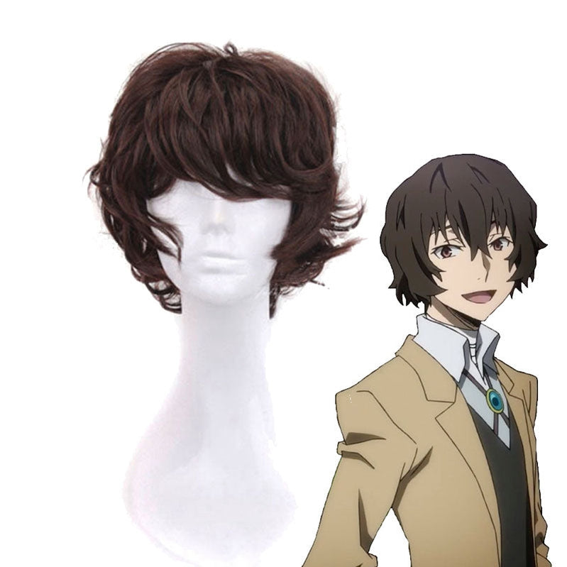 Anime Bungo Stray Dogs Osamu Dazai Short Brown Cosplay Wigs - Cosplay Clans