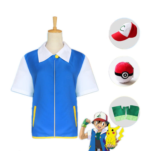 Anime Pokémon Ash Ketchum Short Sleeve Jacket Outfit Cosplay Costume - Cosplay Clans