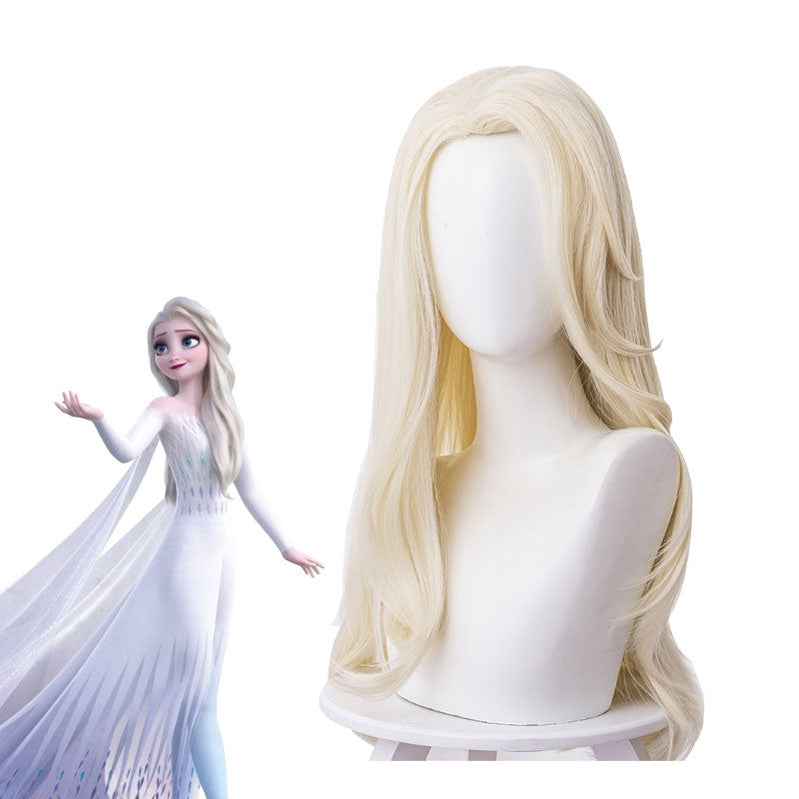 Movie Frozen 2 Elsa Snow Queen Light Golden Cosplay Wigs - Cosplay Clans