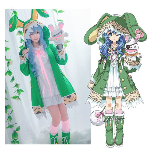 Anime Date A Live Yoshino Himekawa Green Coat Outfits Cosplay Costume with Shoes - Cosplay Clans