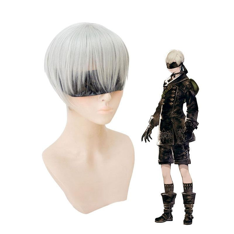 Game NieR Automata YoRHa No.9S Silver Heat Resistant Synthetic Men Short Cosplay Wigs - Cosplay Clans