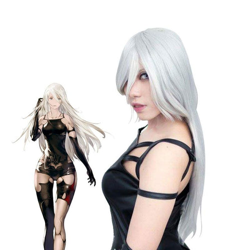 Game Nier: Automata Yorha A2 Type a No.2 Women Synthetic Long Silver Halloween Cosplay Wigs - Cosplay Clans