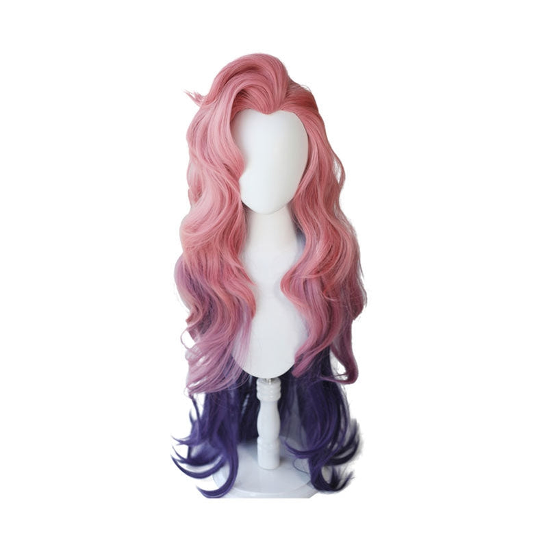 Game LOL Seraphine 100cm Long Pink Gradient Purple Wavy Cosplay Wigs - Cosplay Clans