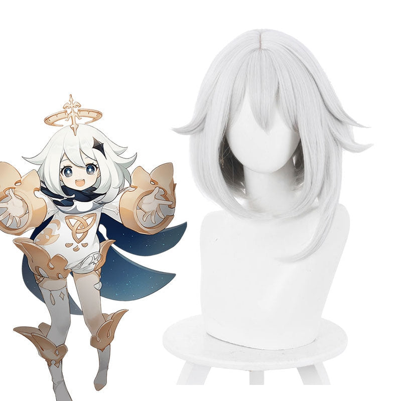 Game Genshin Impact Paimon Gray White Short Cosplay Wig - Cosplay Clans