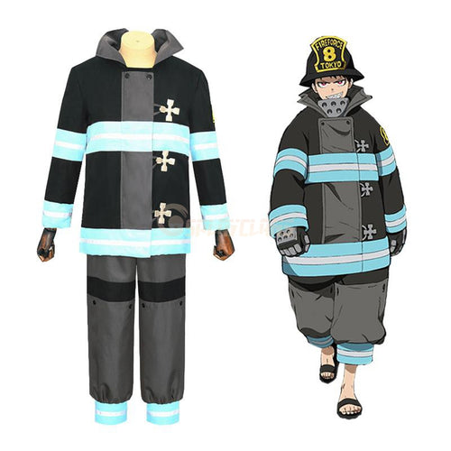 Anime Fire Force Shinra Kusakabe Special Fire Force Company 8 Fire Suit Cosplay Costume - Cosplay Clans