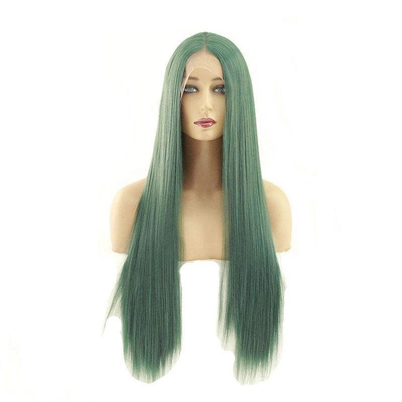 60cm Women Lace Front Wigs Long Straight Dark Green Cosplay Wigs - Cosplay Clans