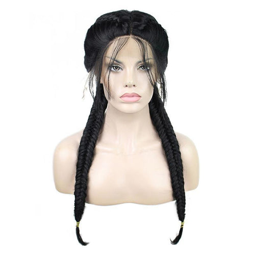 Women Lace Front Wigs Long Black Fishtail Braids Cosplay Wigs - Cosplay Clans