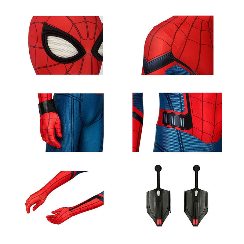 Movie Spider-Man: Far From Home Peter Parker Spiderman Jumpsuit Cosplay Costume with Free Headgear and Bracers - Cosplay Clans