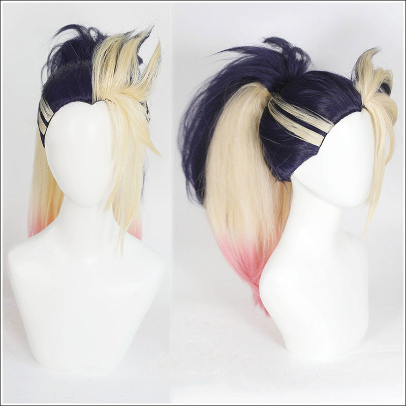 LOL KDA The Baddest Akali Blue Blonde Ponytail Cosplay Wigs - Cosplay Clans
