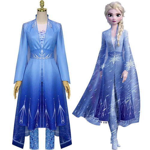 Movie Frozen 2 Elsa Snow Princess Dress Fullset Cosplay Costumes - Cosplay Clans
