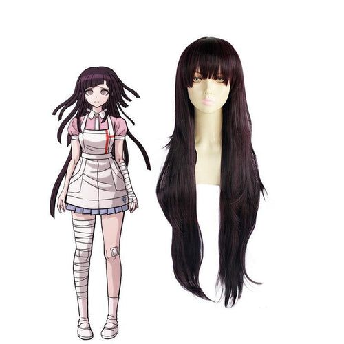 Anime Danganronpa 2: Goodbye Despair Mikan Tsumiki 100cm Long Black Purple Cosplay Wigs - Cosplay Clans