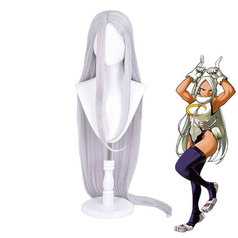 Anime My Hero Academia Miruko Rabbit Hero Long Silver Grey Cosplay Wigs - Cosplay Clans