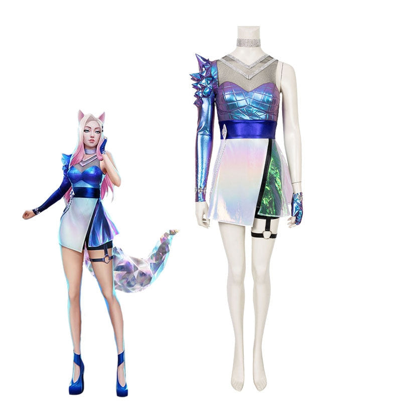 Game LOL KDA ALL OUT Ahri Fullset Cosplay Costume With Free Eears - Cosplay Clans