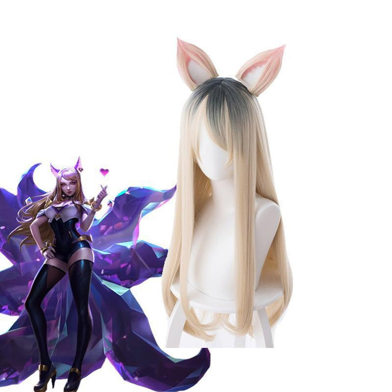 LOL KDA Skin Ahri Nine-Tailed Fox 80cm Long Straight Blonde Cosplay Wigs With Ears - Cosplay Clans