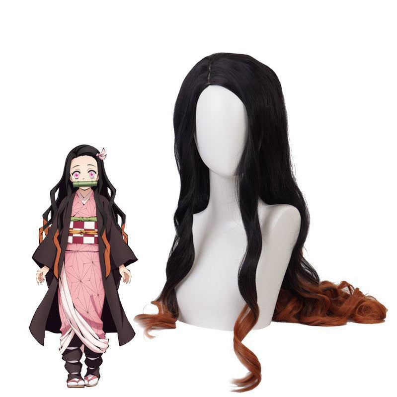 Demon Slayer / Kimetsu no Yaiba Nezuko Kamado Cosplay Wig Black Brown Long Wave Cosplay Wigs - Cosplay Clans
