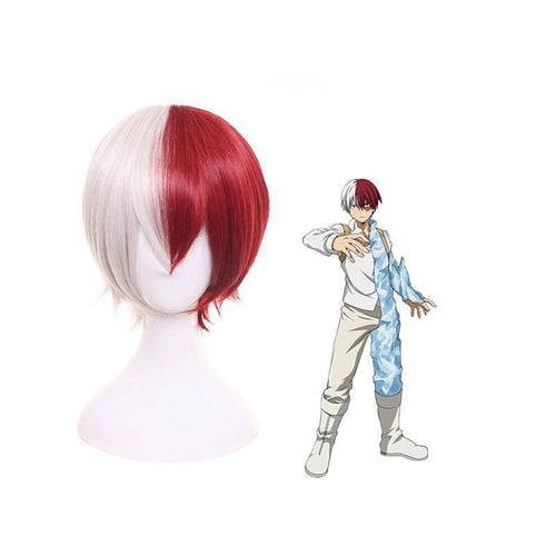 Anime My Hero Academia Shoto Todoroki Cosplay Wigs Short White and Red Wig - Cosplay Clans