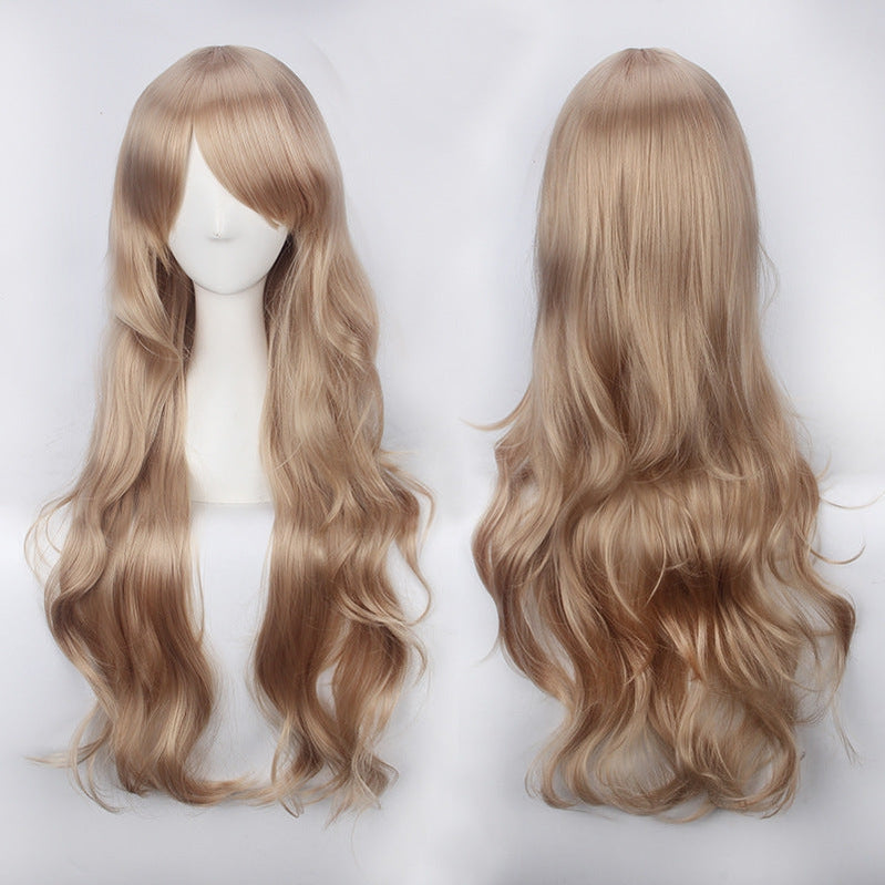 Women Wavy Sweet 80cm Long Brown Lolita Fashion Wigs with Bangs - Cosplay Clans
