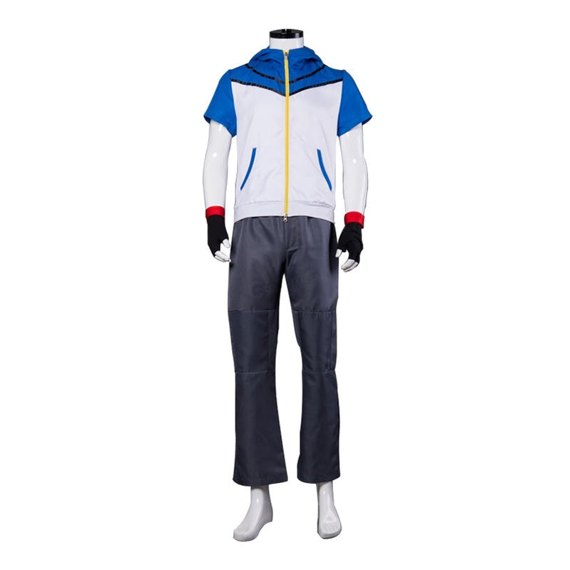 Anime Pokémon Ash Ketchum Jacket Outfit Cosplay Costume with Free Hat - Cosplay Clans