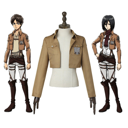 Anime Attack on Titan Eren Jaeger Mikasa Ackerman Training Corps Coat Cosplay Costume - Cosplay Clans