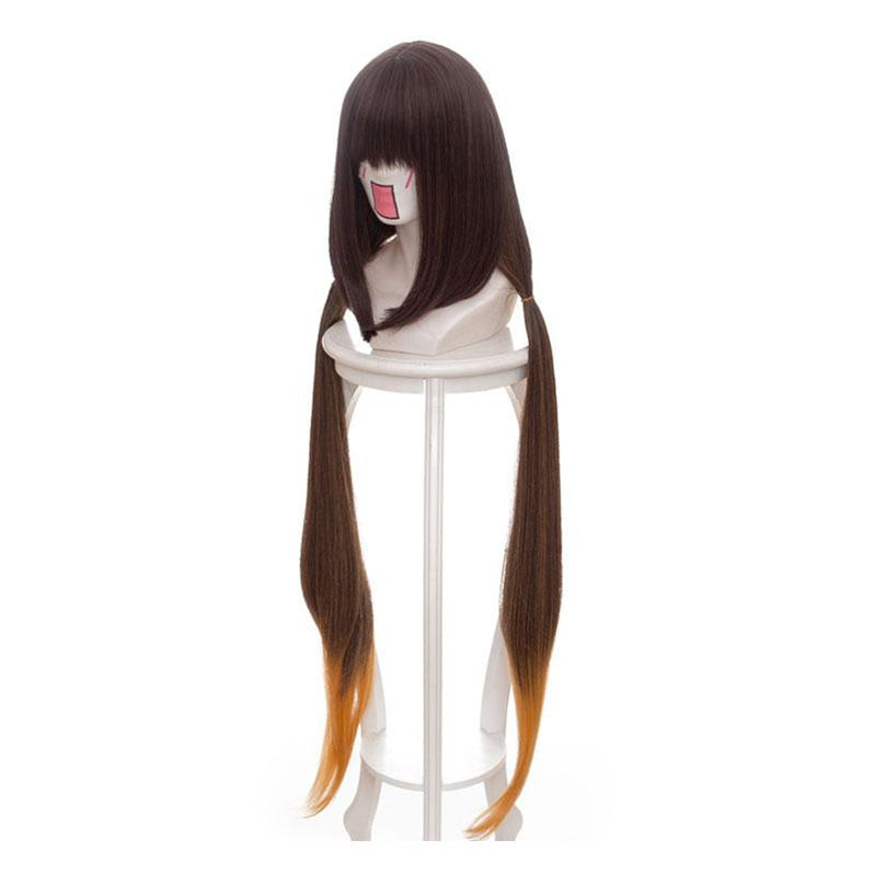 FGO Fate/Grand Order Osakabehime 100cm Long Straight Mixed Brown Gradient Yellow Cosplay Wigs - Cosplay Clans