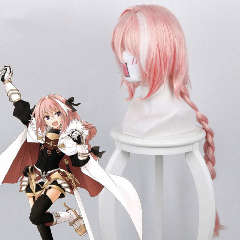 FGO Fate Grand Order Apocrypha Rider of Black Astolfo Pink Long Braid Cosplay Wig - Cosplay Clans